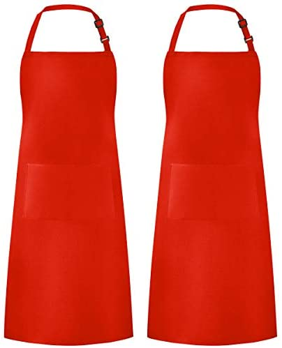 Syntus 2 Pack Adjustable Bib Apron Waterdrop Resistant with 2 Pockets Cooking Kitchen Aprons for BBQ Drawing, Women Men Chef, Red