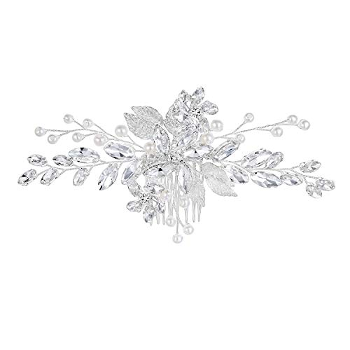 Mondora Wedding Hair Comb Clip Filigree Handmade DIY Simulated Pearl Women's Austrian Crystal Silver-Tone Clear (Best Perfume For Indian Bride)