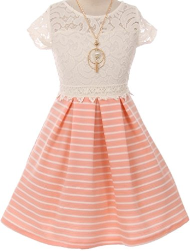 Charmeuse Lace Corset (Big Girls' Lace Top Stripe Skirt Necklace Easter Flowers Girls Dresses Peach 8 (J20KS51))