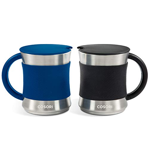 COSORI Coffee Mug with Lids Set of 2, Stainless Steel Cups