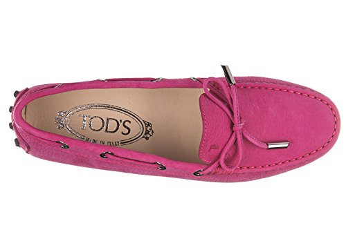 Tods Damen Wildleder Mokassins Slipper Heaven Laccetto Occhielli Fuxia