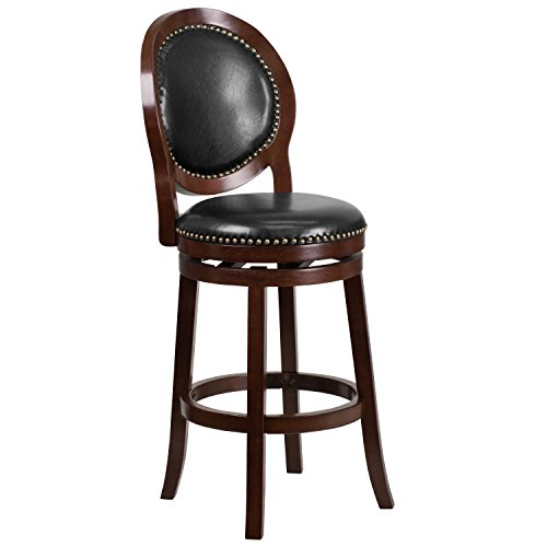 Flash Furniture 30'' High Cappuccino Wood Barstool with Black Leather Swivel Seat - Oval Back Bar Stool