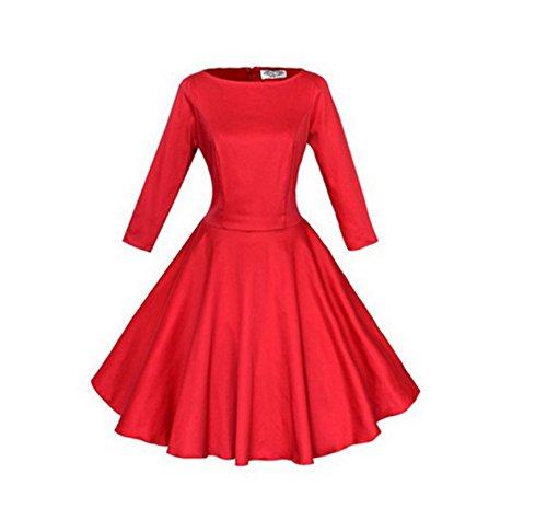 Largo De Las Mujeres Mangas De Cuello Redondo Vestido De La Cintura Grande Red