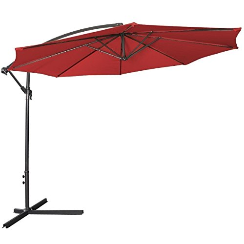 10 ft Umbrella Patio Sun Shade Offset Outdoor Market with Cross Base (Burgundy) Review