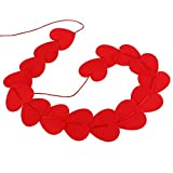 OULII Valentines Day Red Heart Hanging String Garland Decorations Engagement Wedding Party