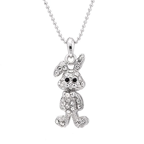 Spinningdaisy Silver Plated Folded Ear Standing Bunny Necklace