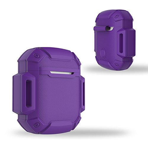 Shock Resistant Case Protective Silicone Cover Running Design with Hard Sleeve and Keychain for Charging Compatible Apple AirPods (Purple)