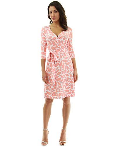 PattyBoutik Women Faux Wrap A Line Dress (Orange and White 28 Medium)