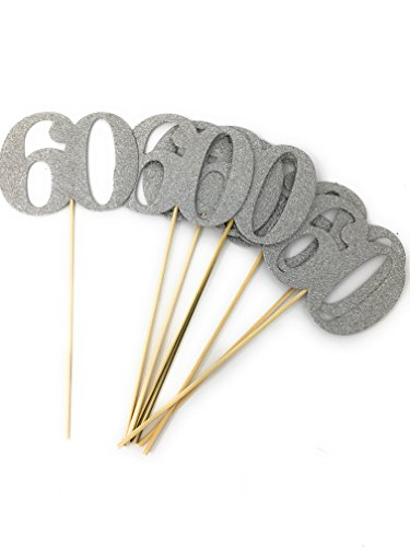 Set of 8 Number 60 Centerpiece Sticks for Anniversary Reunion 60th Birthday (Silver)