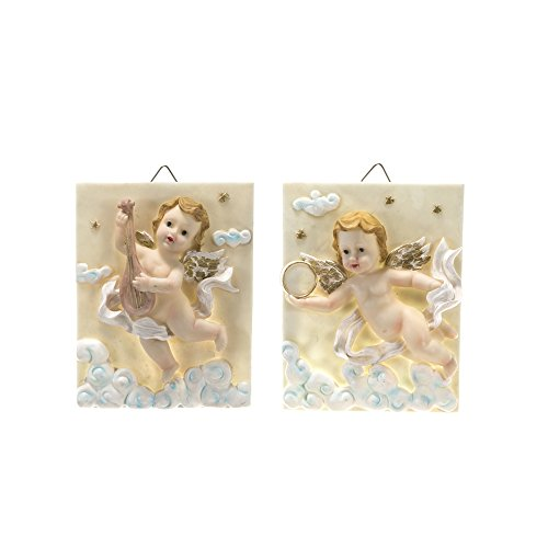 Mega Crafts Religious Wall Décor Angel Figurines Plaque, Set of 2 | Poly Resin Construction | Hang Or Wall Mount Via The Hanging Loop | For Praying, Home Décor, Housewarming Gift, Meditation & More