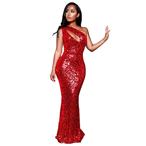 Forthery-Women Sexy Bodycon High Split Long Sleeve Bandage Party Night Club Mini Dress Sequin Formal Gowns(Red,S)