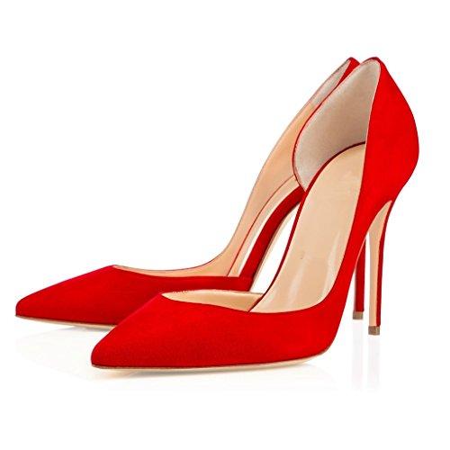 Damen Damen Zehen Ausschnitte Rot Slip On Pumps Abendschuhe Spitzen Pumps EDEFS d'Orsay ngqfxa6Rn