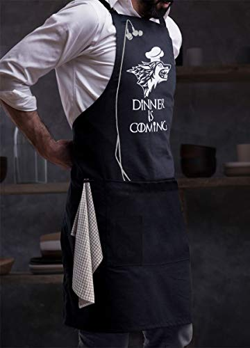 - Milano Home GOT Apron Kitchen Chef Bib - Dinner is Coming Professional for BBQ, Baking, Cooking for Men Women / 100% Cotton, Adjustable Neck, Centre Pockets, Towel Holder & Headphone Loop - Navy