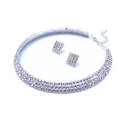Timelessbride Austrian Princess Cut Rhinestone Crystal Coil Choker Necklace and Stud Earrings Wedding Prom Bridesmaids Jewelry Set, Silver Tone, Sale (Coil Choker) - Princess Cut Rhinestone