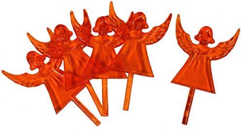 Creative Hobbies Plastic Angel Ceramic Christmas Tree Topper, Cake Topper Craft Ornaments 2.5 Inches Tall, Orange, 10 Pack