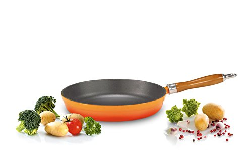 Karl Kruger Cuisine Enamelled Cast Iron Dishes Series Pan with Wooden Handle, 24 cm