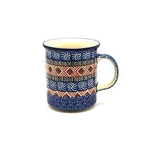 Polish Pottery Mug – Straight Sided – Aztec Sun