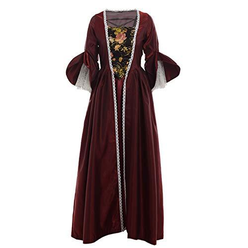 BLESSUME Women Rococo Lace Marie Antoinette Masked Ball Victorian Costume Dress (Burgundy((Over Dress+ Inner Skirt)), XXL) -