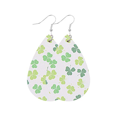 aihihe Saint Patrick's Day Earrings for Women Girls Gift Leather Earrings Green Drop Earrings Jewelry Accessory Handmade
