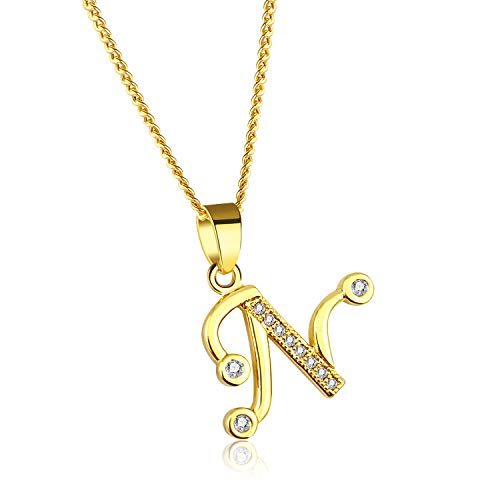 YOUFENG Initial Alphabet Pendant Necklace 18K Gold Plated A-Z Letter Cubic Zirconia Personalized Necklaces Gift for Women Fashion Jewelry (N)