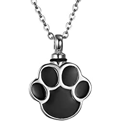 VALYRIA Cremation Jewelry Silver Stainless Steel Puppy Dog Paw Urn Pendant Necklace Memorial Ash Keepsake