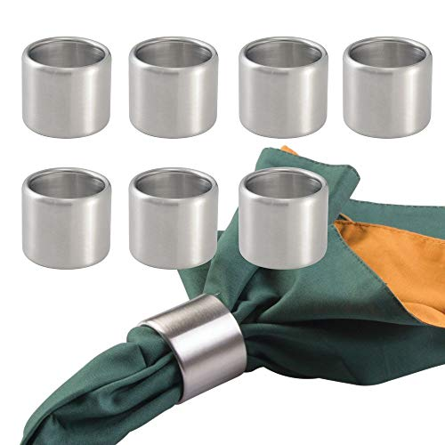 (mDesign Napkin Rings for Home, Kitchen, Dining Room - Pack of 8, Brushed Stainless Steel)