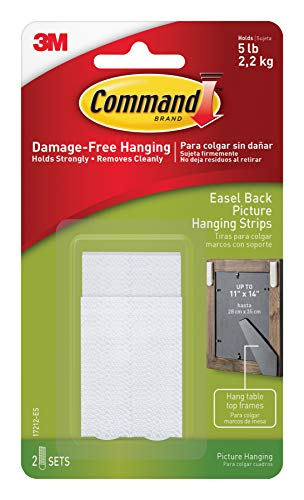 Command Easel-Back Frame Picture Hanging Strips, 2 sets (2 pairs & 2 spacers), Holds 5 lbs, Indoor Use (17212-ES)