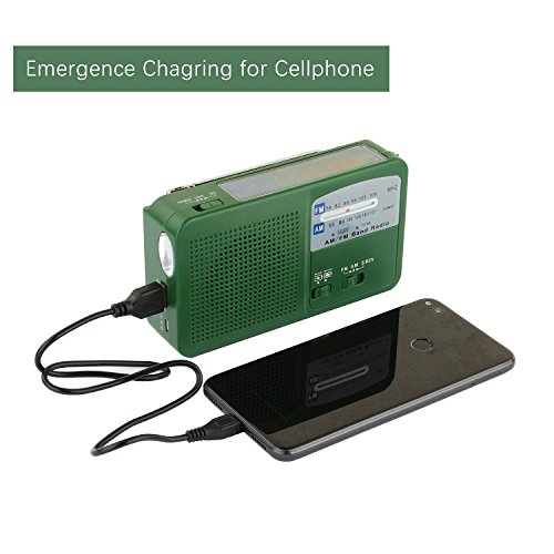 Emergency Radio with Solar and Hand Crank Self Powered, Battery USB Recharging FM/AM Radio LED Flashlight Cell Phone Charger(Green)