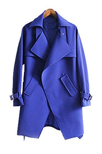 La Sra Sección Larga Capa De La Cintura Del Cordón De Gran Tamaño Capa Fina Multicolor Multi-tamaño,Blue-s
