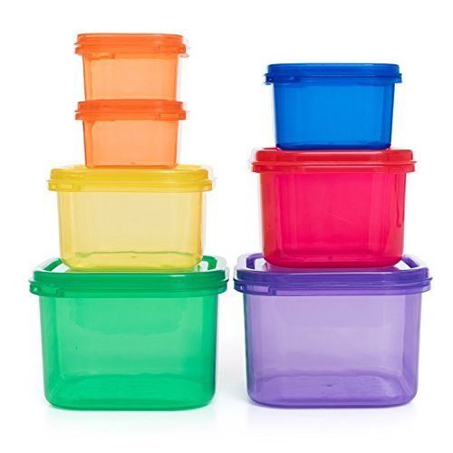 EAT &FIT 7 Piece Portion Control Containers Kit with COMPLETE Diet guide , Multi-Colored System, 100% Leak Proof.