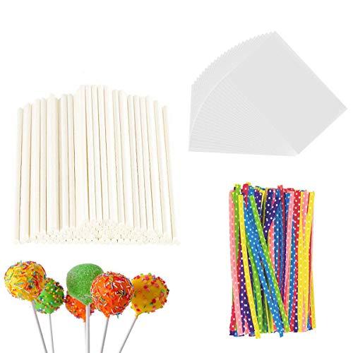300 Pieces Lollipop Set, 100PCS Parcel Bags + 100 Pieces Treat Sticks + 100 Pieces Colorful Metallic Wire for Lollipops Candies Chocolates and Cookies ()