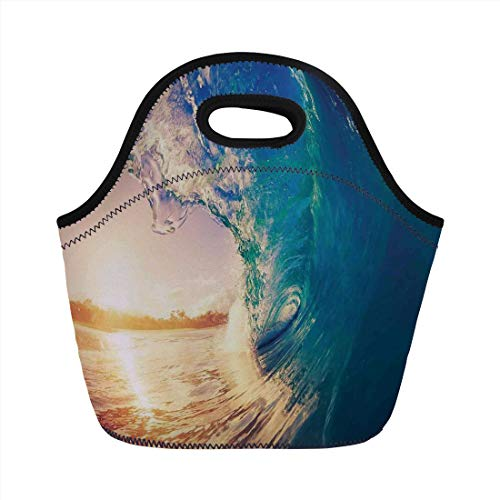 (Ocean Decor,Ocean Wave at Sunrise Reflection on Surface Tropical Trees Shoreline Summertime Picture,Teal Gold,for Kids Adult Thermal Insulated Tote Bags)