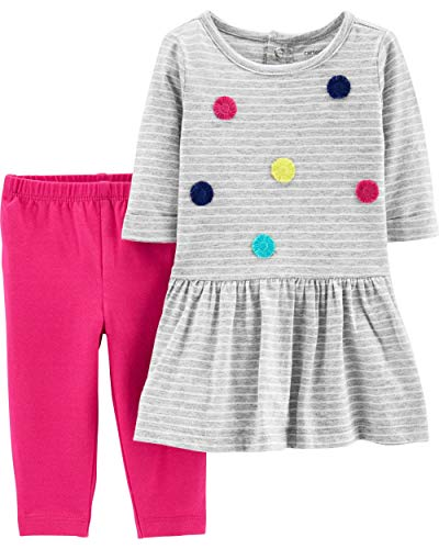 Carter's Baby Girls 2-Piece Dress with Legging Set (24 Months, Heather/Pink, Pom Pom)