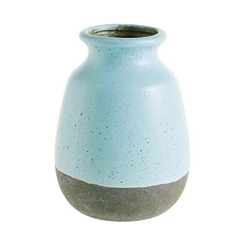 AC Decor Robin's Egg Blue Ceramic Vase with Crackle Glaze, 6.5