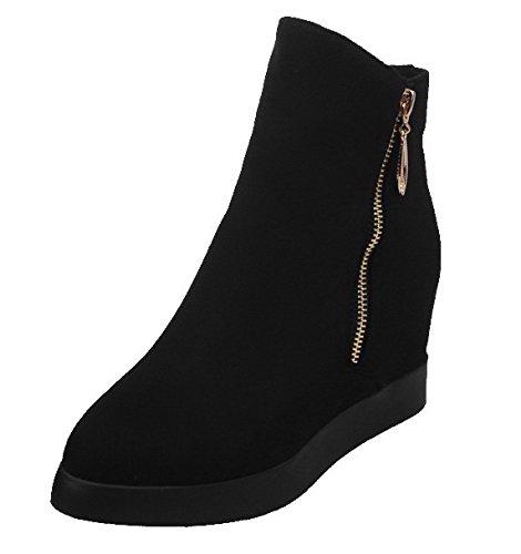 AgeeMi Shoes Mujeres Tacón Alto Puntera EN Punta Sólido Caña Baja Botas Negro