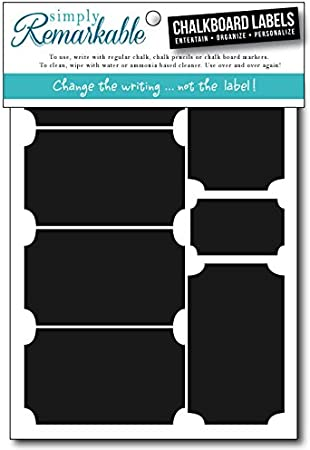 Decorating 18 Plaque Shape 3 x 1.75 Adhesive Chalkboard Stickers Simply Remarkable Reusable Chalk Labels Crafts For Organizing Light Material with Removable Adhesive and Smooth Writing Surface Can be Wiped Clean and Reused Personalized Hostess Gi