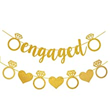 Gold Glittery Engaged Banner with Diamond Ring and Love Heart Banner for Wedding and Bridal Shower Engagement Party Decorations (Pre-strung)