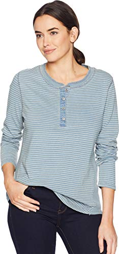 - Dylan by True Grit Women's Washed Indigo Classic Stripe Long Sleeve Button Henley with Side Rib Inset Faded Denim Large