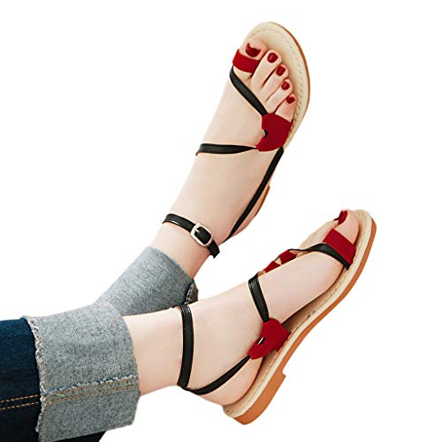 FarJing Women Sandals Red Heart Belt Buckle Toe Flat Beach Shoes Sandals(US:6.5,Black