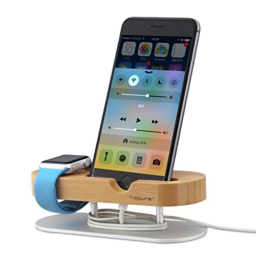 Hapurs-Apple-Watch-Stand-Iwatch-Series-2-Stand-Aluminum-Alloy-and-Bamboo-Wood-Build-Charging-Dock-Charge-Station-Stock-Cradle-Holder-for-Apple-Watch-Both-38mm-and-42mm-iPhone-77-plus-66s-plus-5S-5