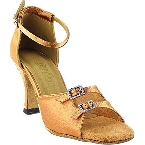 Womens Ballroom Dance Shoes Tango Wedding Party Salsa Shoes Brown Satin 1620EB Comfortable - Very Fine 2.5