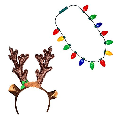 Windy City Novelties Ugly Sweater Christmas Party Kit - Holiday Hat + LED Christmas Bulb Necklace Combo (LED Reindeer Headband + Necklace) (Led Reindeer)