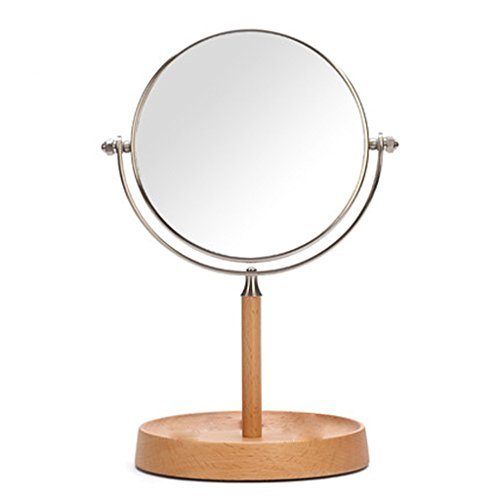 Echotang Espejo de Madera Espejo Simple HD Espejo de Escritorio Espejo con Tapa Alta definicion Espejo Lateral Doble