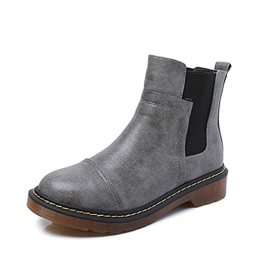 Womens Classic Elastic Side Panel Ankle Riding Bootie Shoes, Waterproof Chelsea Short Boots for Women Grey