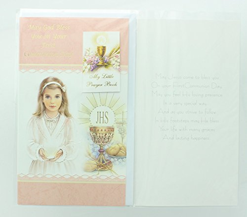 RA001 Girls First Holy Communion Greeting Card with Prayer Book. Includes Envelope.