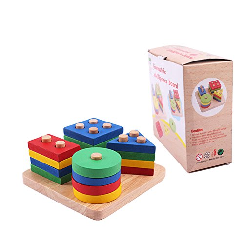 - Habudda Sorting & Stacking Baby Toys Wood Block For Toddlers Stacking Games Preschool Counting Shape Color Recognition Geometric Stacker Intelligence Board Chunky Wood Puzzle Toy