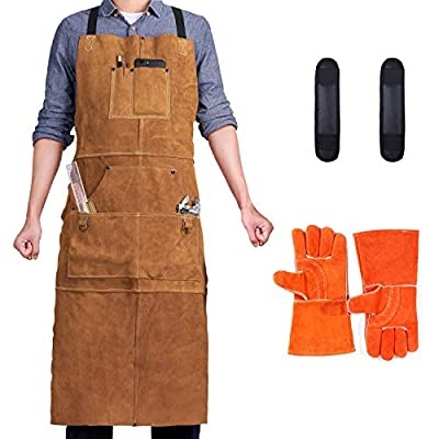 """QeeLink Leather Welding Apron with 6 Pockets - Heat & Flame-Resistant Heavy Duty Work Apron, 42"""" Extra Large & Cross Back Long Strap, Adjustable M to XXXL for Men & Women"""
