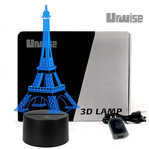 Romantic Eiffel Tower in Paris France 3D Optical Illusion Night Light, 7 Colors Changing, Smart Touch Button USB Powered(Contains The Power Adapter),Amazing Creative Art Design for Home Decor. P2821 for $<!--$23.99-->