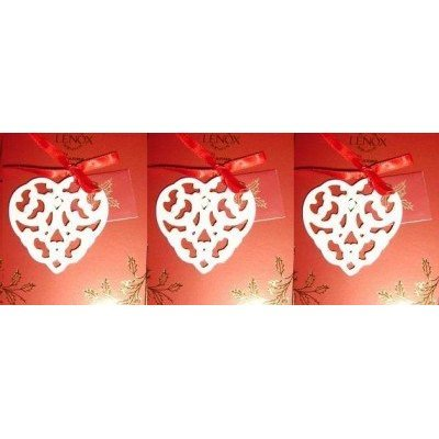 Lenox Charms Pierced Heart Christmas Ornaments Lot of 3