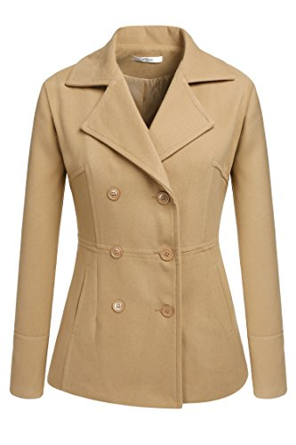 Meaneor Women's Toggle Double Breasted Trench Coat Pea Winter Jacket Blazer (XXL, Camel)